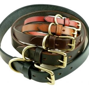 ESB Classic leather dog collars - from top, Red 12mm, Hazel 16mm, Chestnut 20mm, Havana 25mm, Black 32mm