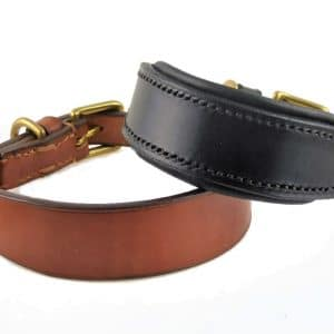 ESB Leather Classic hound collars in 32mm width, L in Hazel, R in Black with padded lining
