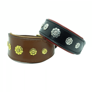 ESB Leather Daisy sight-hound collars in Hazel and Tan (62mm, Brass), Black and Red (45mm, Nickel)