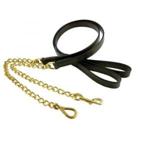 ESB Leather cattle leads in Havana with chain ends (snap L, trigger R)