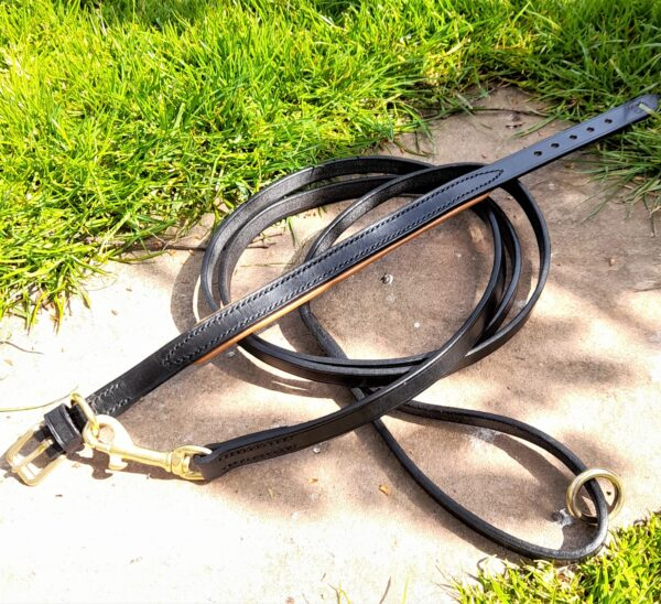 ESB Leather Black and Tan padded Classic collar (16mm) with matching Black Classic lead (12mm)