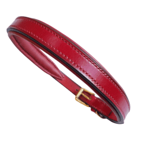 ESB Leather Classic padded dog collar in Red (20mm) with matching red lining