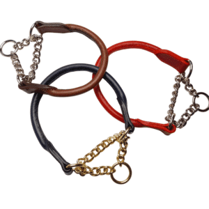 ESB Leather Rolled half-choke collars, Hazel, Red and Navy (clockwise from top) 12mm with heavy chain