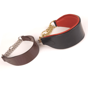 ESB Leather Half choke hound collars - Chestnut 45mm, nickel medium chain (L), 62mm Black with Red padded lining and brass heavy chain (R)