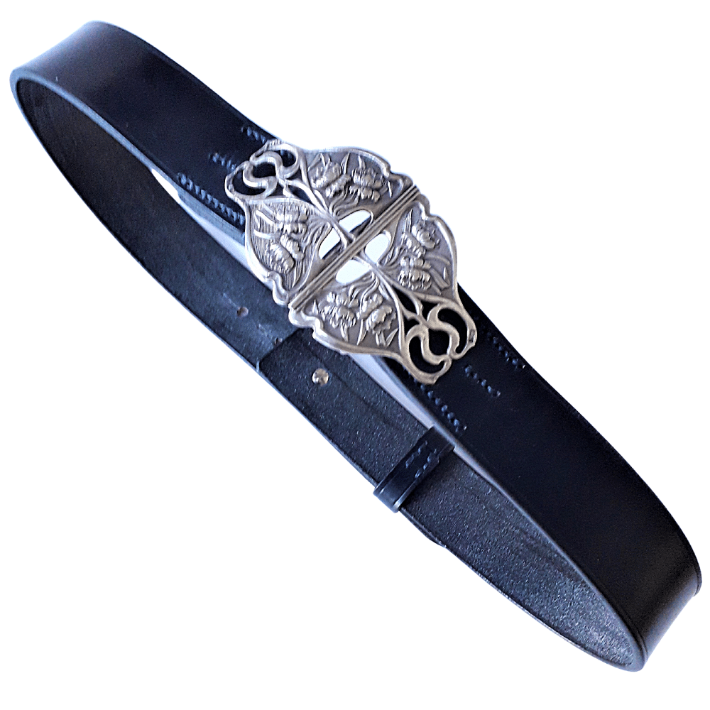 Navy leather belt with antique silver Nurses buckle