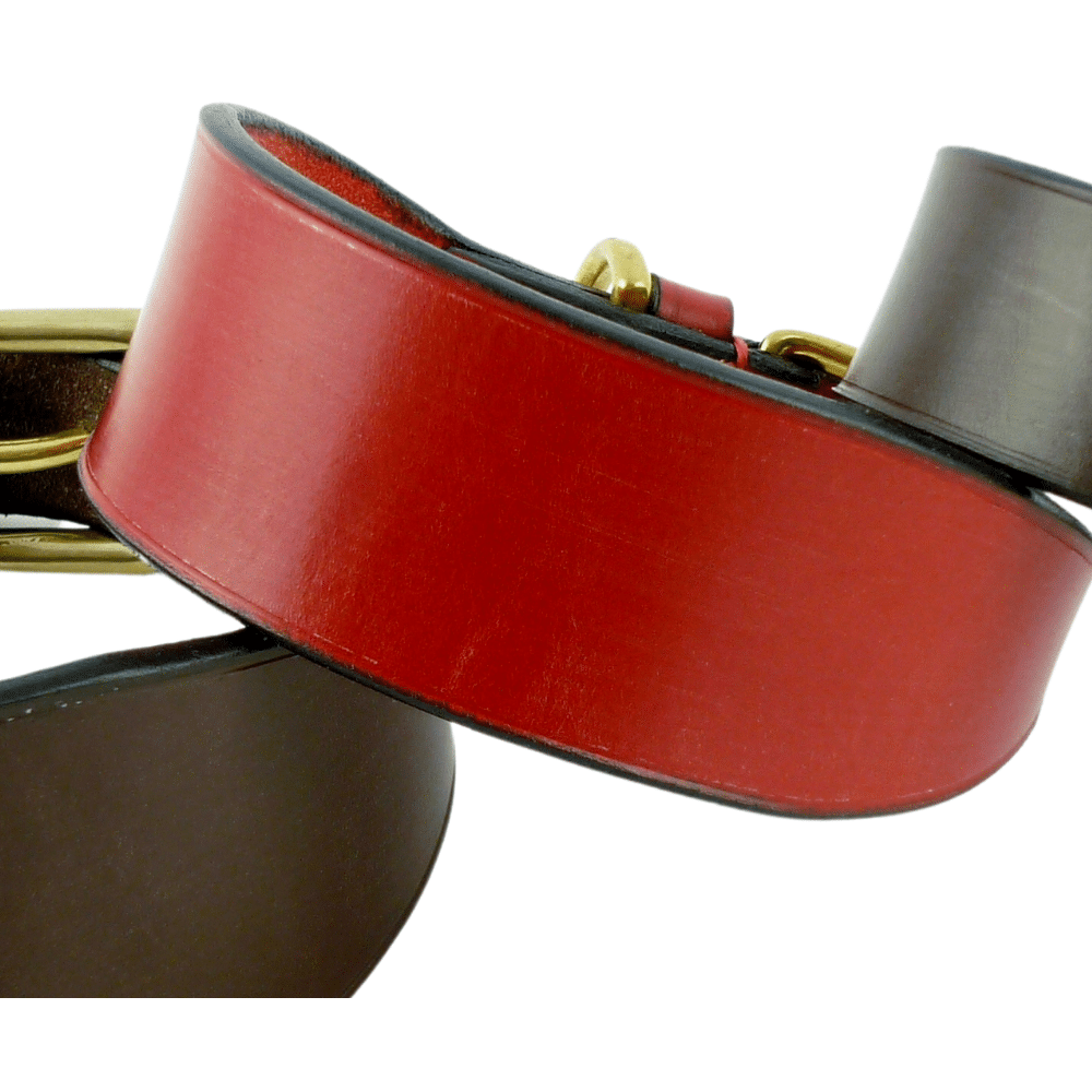 Red bridle leather with black edge